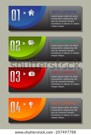 modern text box for website info graphic and business, numbers, icon.
