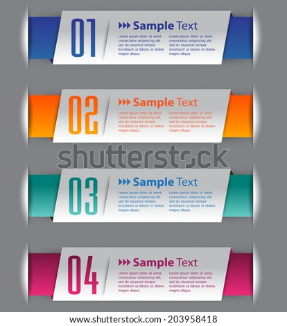 modern text box for website, numbers, icon.  - stock vector