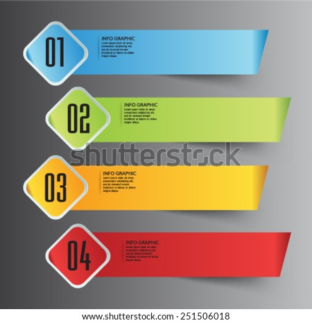 modern text box template for website computer graphic and internet, numbers. label. ribbon - stock vector