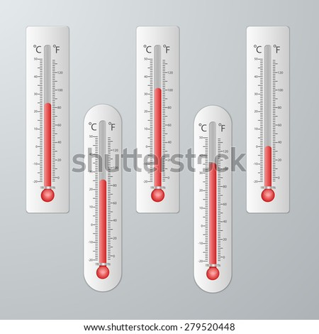 Modern thermometers for design set. - stock vector