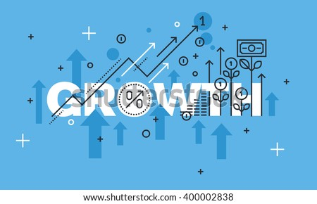 Modern thin line design concept for GROWTH website banner. Vector illustration concept for business success, financial results, banking, earnings growth and revenue, stock market. - stock vector