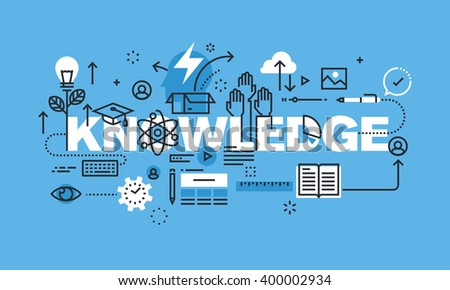 Modern thin line design concept for KNOWLEDGE website banner. Vector illustration concept for university and education.  - stock vector