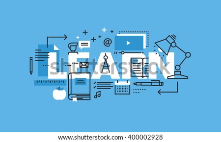 Modern thin line design concept for LEARN website banner. Vector illustration concept for education, online learning, school and university, training and courses. - stock vector