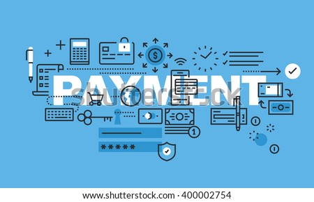 Modern thin line design concept for PAYMENT website banner. Vector illustration concept for shopping, payment method, e-banking. - stock vector