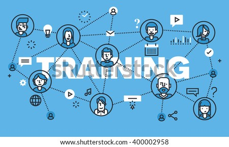 Modern thin line design concept for TRAINING website banner. Vector illustration concept for online training, distance education, modern way of acquiring knowledge through the internet. - stock vector