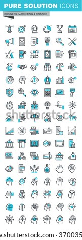 Modern thin line flat design icons set of business strategy, planning, analysis, e-banking, m-banking, investment, human resources, character experience. Outline icon collection for web graphic. - stock vector