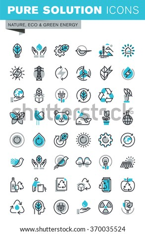 Modern thin line flat design icons set of ecology, nature, recycling, waste management, green energy and technology. Outline icon collection for web graphic. - stock vector