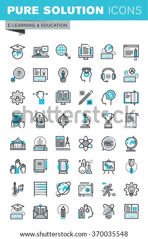 Modern thin line flat design icons set of online education, video tutorials, e-book, science, creative process, university and courses. Outline icon collection for web graphic. - stock vector