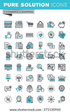 Modern thin line flat design icons set of online shopping, online payment and security, product delivery, customer support. Outline icon collection for web graphic. - stock vector