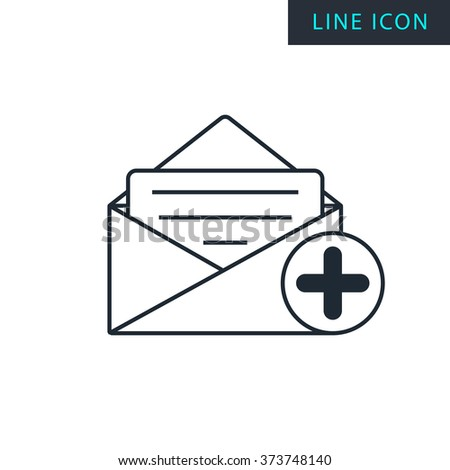 Modern thin line icon of add mail. Premium quality outline symbol. Simple mono linear pictogram, drawing, art, sign. Stroke vector logo concept for web graphics.  - stock vector