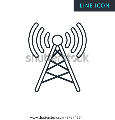 Modern thin line icon of Antenna. Premium quality outline symbol. Simple mono linear pictogram, drawing, art, sign. Stroke vector logo concept for web graphics.  - stock vector
