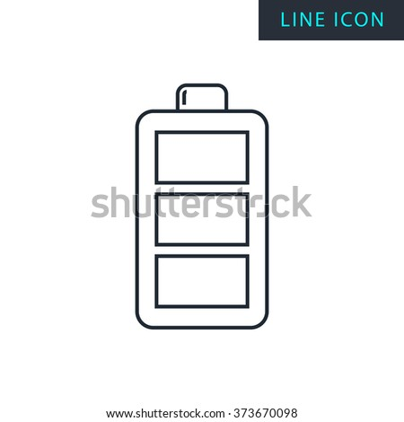 Modern thin line icon of battery. Premium quality outline symbol. Simple mono linear pictogram, drawing, art, sign. Stroke vector logo concept for web graphics.  - stock vector