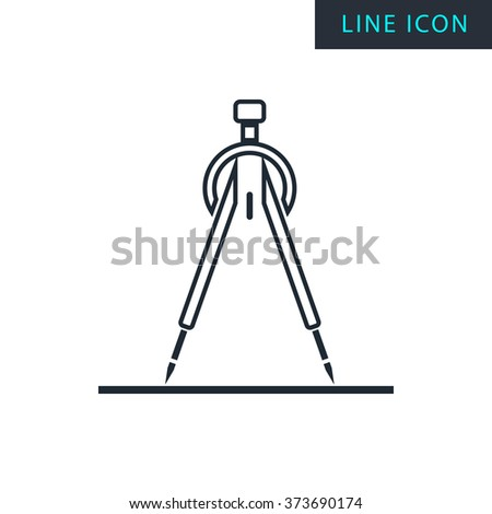 Modern thin line icon of compasses. Premium quality outline symbol. Simple mono linear pictogram, drawing, art, sign. Stroke vector logo concept for web graphics.  - stock vector