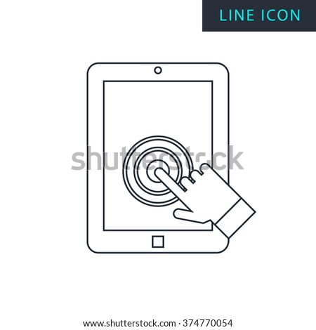 Modern thin line icon of tablet touch screen.  - stock vector