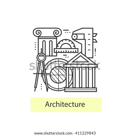 Modern Thin Line Icons Architecture Concept Of A Collection Vectors Symbol