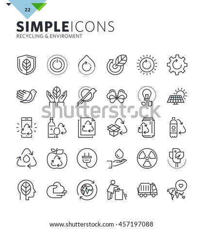 Modern thin line icons of ecology and recycling. Premium quality outline symbol collection for web design, mobile app, graphic design. Mono linear pictograms, infographics and web elements pack.