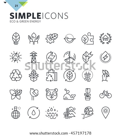 Modern thin line icons of environment and green energy. Premium quality outline symbol collection for web design, mobile app, graphic design. Mono linear pictograms, infographics and web elements pack - stock vector