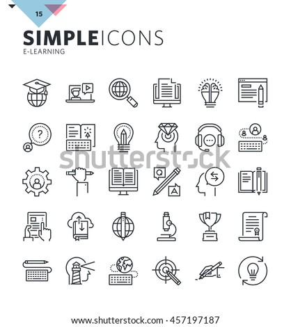 Modern thin line icons of online education and e-learning. Premium quality outline symbol collection for web and graphic design, mobile app. Mono linear pictograms, infographics and web elements pack.