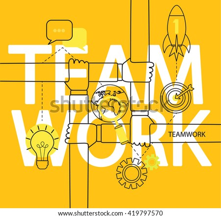 Modern thin line icons set infographic of teamwork concept. For web, internet, mobile apps, interface design. Vector illustration. - stock vector