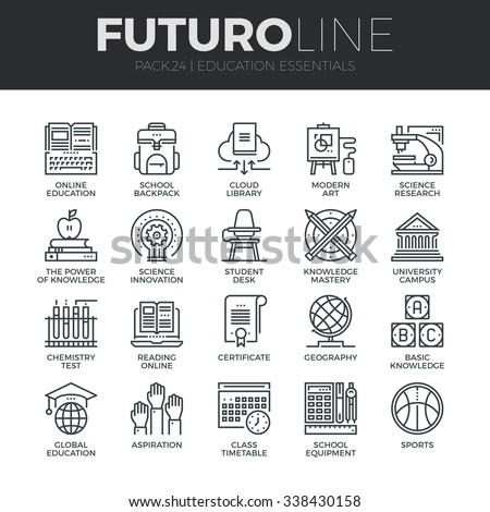Modern thin line icons set of basic education training and studying online. Premium quality outline symbol collection. Simple mono linear pictogram pack. Stroke vector logo concept for web graphics. - stock vector