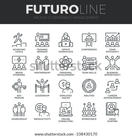 Modern thin line icons set of corporate management and business leader training. Premium quality outline symbol collection. Simple mono linear pictogram pack. Stroke vector logo concept,web graphics.