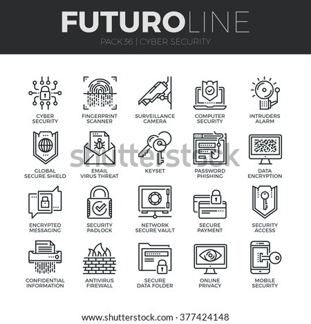 Modern thin line icons set of cyber security, computer network protection. Premium quality outline symbol collection. Simple mono linear pictogram pack. Stroke vector logo concept for web graphics. - stock vector