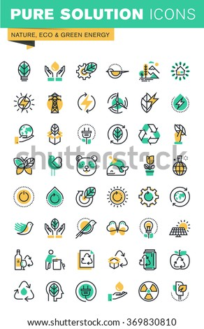 Modern thin line icons set of ecology, sustainable technology, renewable energy, recycling, nature, protection of flora and fauna. Outline icon collection for website and app design. - stock vector