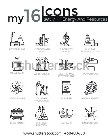 Modern thin line icons set of energy produsing industry, power plants, resources. Premium quality outline symbol collection. Simple mono linear pictogram pack. Stroke vector concept for web graphics.