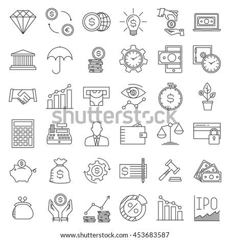 Modern thin line icons set of finance, investment, banking and money. Premium quality outline symbol collection. Simple mono linear pictogram pack for web graphics. Wallet, moneybox, coins and others.