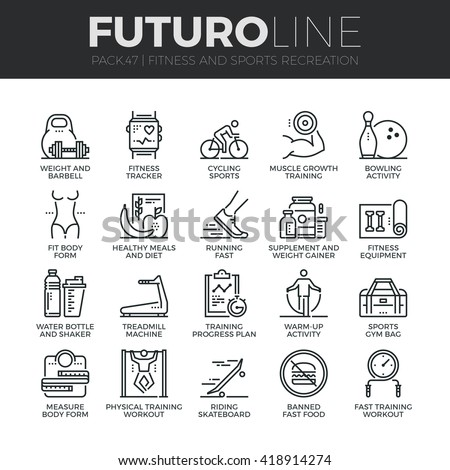 Modern thin line icons set of fitness gym equipment, sports recreation activity. Premium quality outline symbol collection Simple mono linear pictogram pack Stroke vector logo concept for web graphics - stock vector