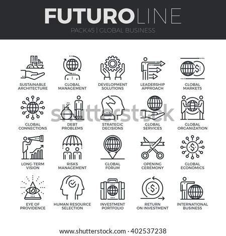 Modern thin line icons set of global business services and worldwide operations. Premium quality outline symbol collection Simple mono linear pictogram pack Stroke vector logo concept for web graphics