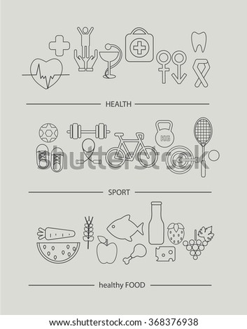 Modern thin line icons set of healthy lifestyle concept.  Simple mono linear pictogram pack of health, food and sport. Stroke vector logo concept for web graphics, vector illustration. - stock vector