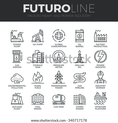 Modern thin line icons set of heavy industry, power plant, mining resources. Premium quality outline symbol collection. Simple mono linear pictogram pack. Stroke vector logo concept for web graphics. - stock vector