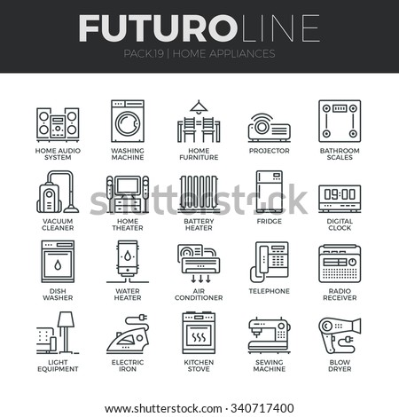 Modern thin line icons set of home appliances, household consumer electronics. Premium quality outline symbol collection. Simple mono linear pictogram pack. Stroke vector logo concept for web graphics - stock vector