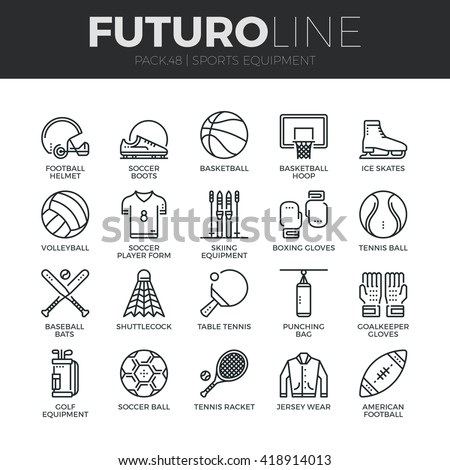 Modern thin line icons set of sports equipment and wear, various type of balls. Premium quality outline symbol collection. Simple mono linear pictogram pack Stroke vector logo concept for web graphics