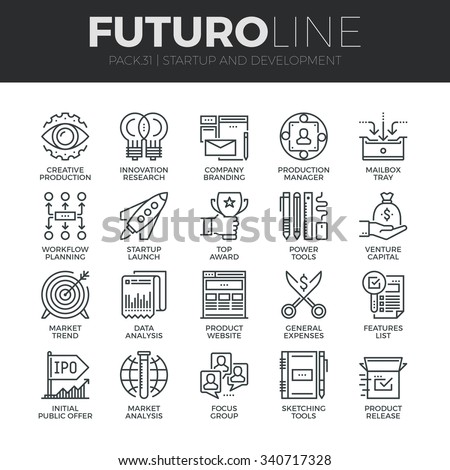 Modern thin line icons set of startup business and launch new product on market. Premium quality outline symbol collection. Simple mono linear pictogram pack. Stroke vector logo concept, web graphics. - stock vector