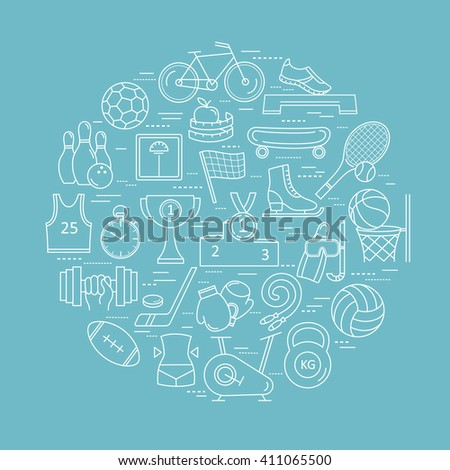 Modern thin line of icons on sports themes. High quality vector logos. - stock vector