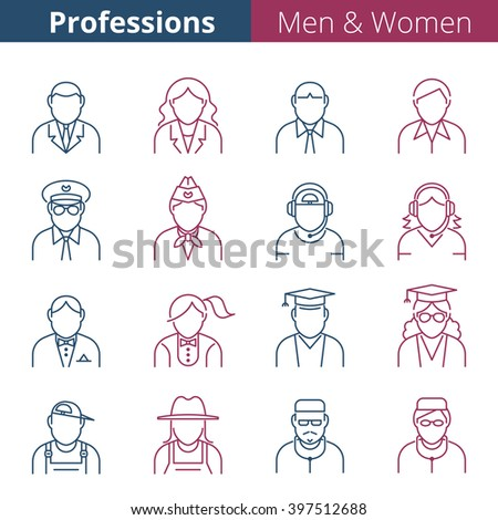Modern thin line people avatar icons. Male and female professions and occupations. Suitable for infographics, web, social networks. Man and woman vector avatar silhouettes. - stock vector