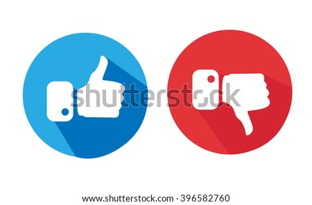 Modern Thumbs Up and Thumbs Down Icons  - stock vector