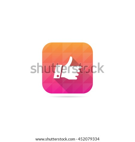 Modern Thumbs Up Icon With Long Shadow - stock vector