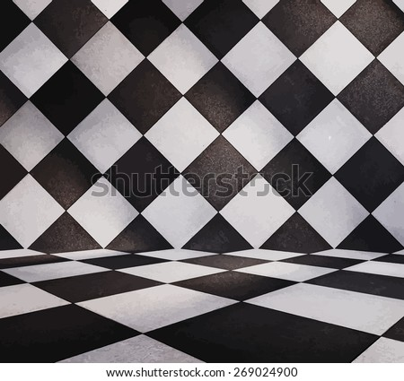 modern tiled room, vector - stock vector