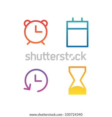 Modern time icons with colorful gradients. - stock vector