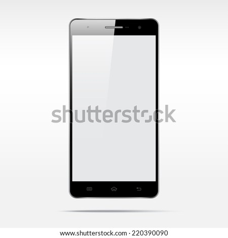 Modern touchscreen cellphone tablet smartphone isolated on light background.  Empty screen - stock vector