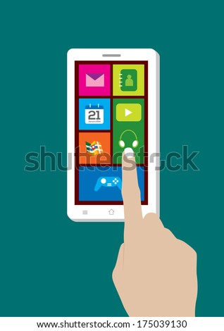 Modern Touchscreen Mobile Phone and Hand - Vector Illustration - stock vector