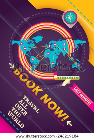 Modern traveling advertising poster. Vector illustration. - stock vector