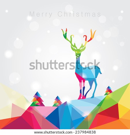 modern trendy merry christmas landscape vector illustration with noel tree forest and reindeer in colorful polygonal composition with copy space - stock vector