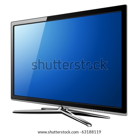 Modern TV lcd, led with dandelion flowers on screen. - stock vector
