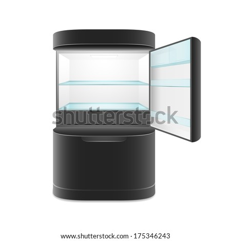 Modern two door black refrigerator, isolated, vector illustration