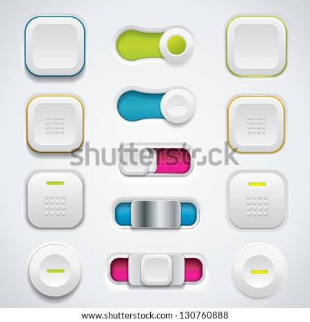 Modern UI button set including switches and push buttons in different design variations - stock vector