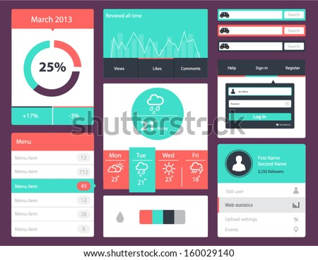 Modern UI flat design vector kit in trendy color  - stock vector